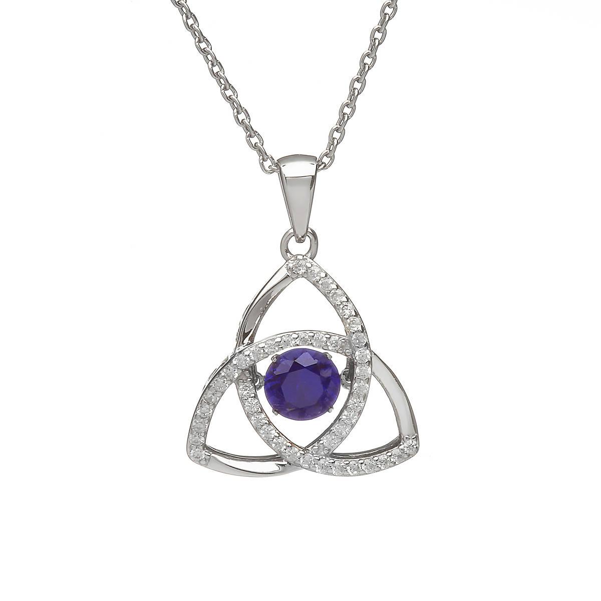 Silver Dancing Trinity Birthstone Pendant Sapphire/cz