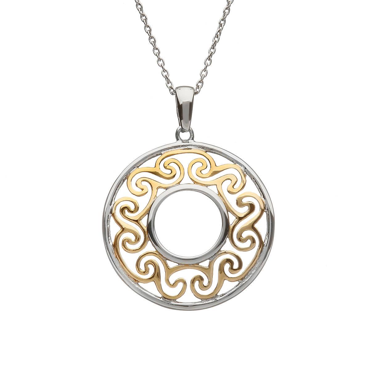 Silver/gp Celtic Filigree Round Pendant