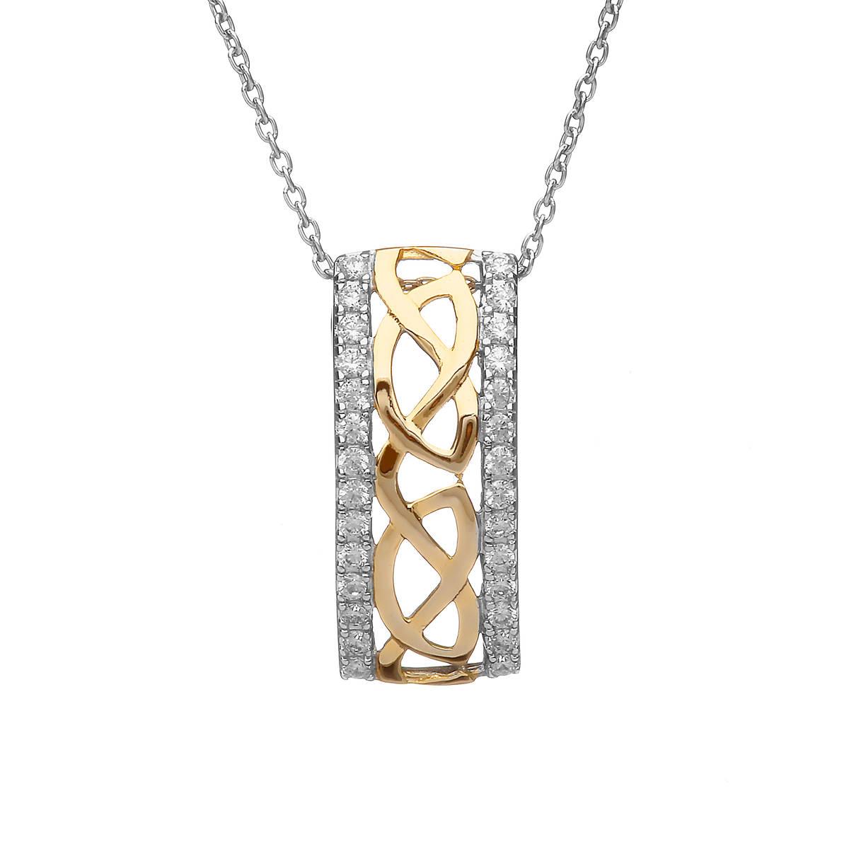 Silver/gp Celtic Pendant With Cz