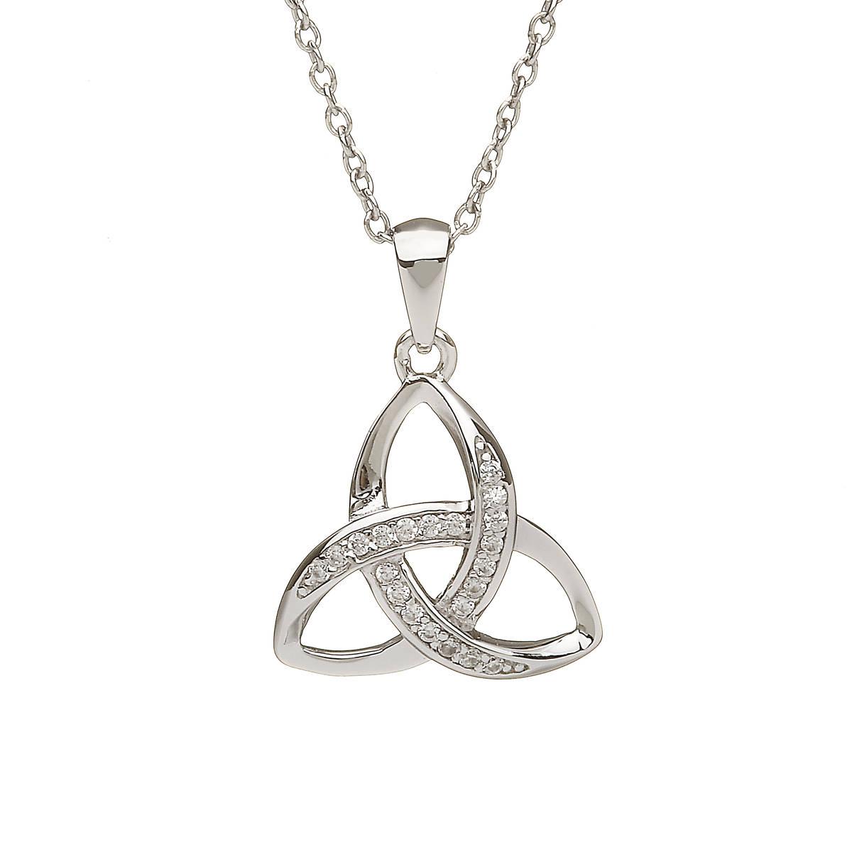 Silver Cubic Zirconia set Trinity Pendant
