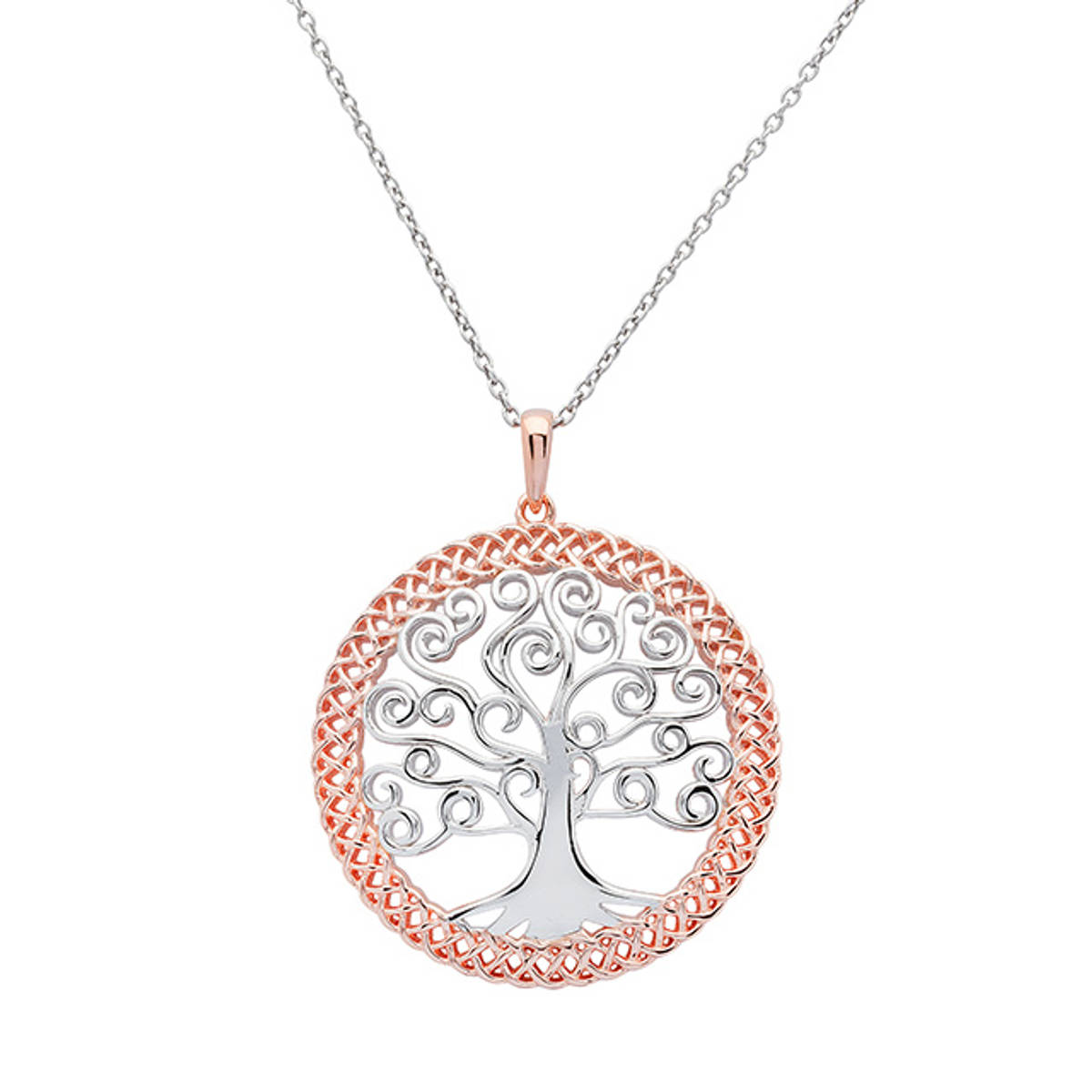 Sterling Silver Tree Of Life Pendant.   This pendant does NOT have the rose gold edge seen in the image.  Size: 30mm