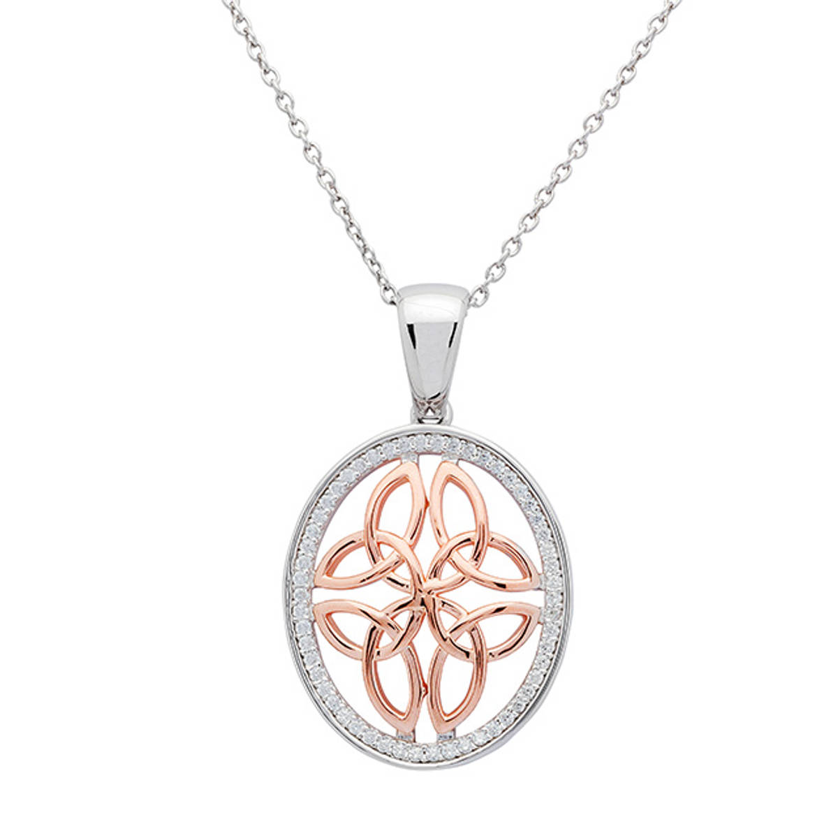Sterling Silver Round Pendant with rose gold Celtic Knot surrounded by cubic zirconia.