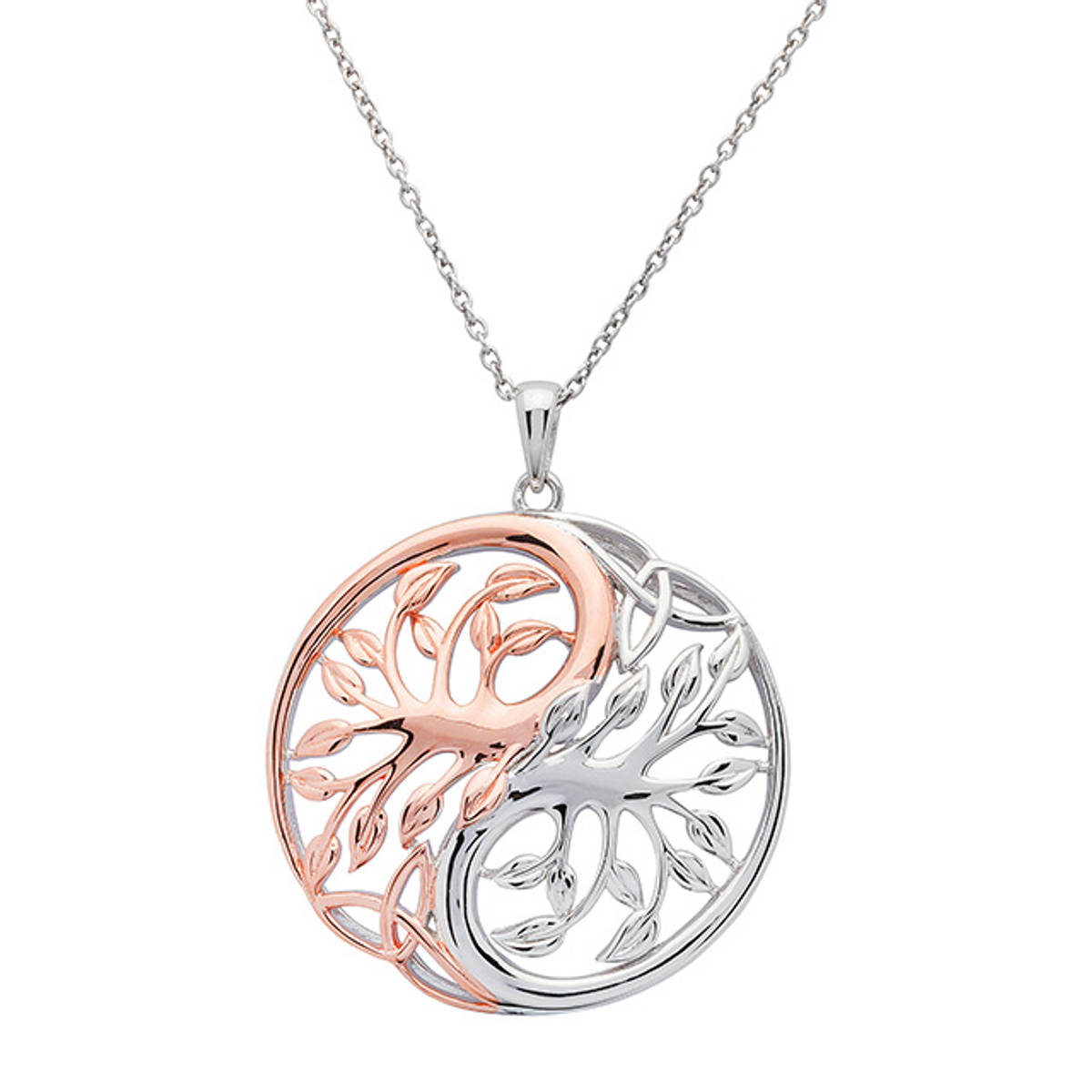 Silver and rose gold two-tone Circular Tree Of Life and Yin Yang Pendant.  Size: 30mm