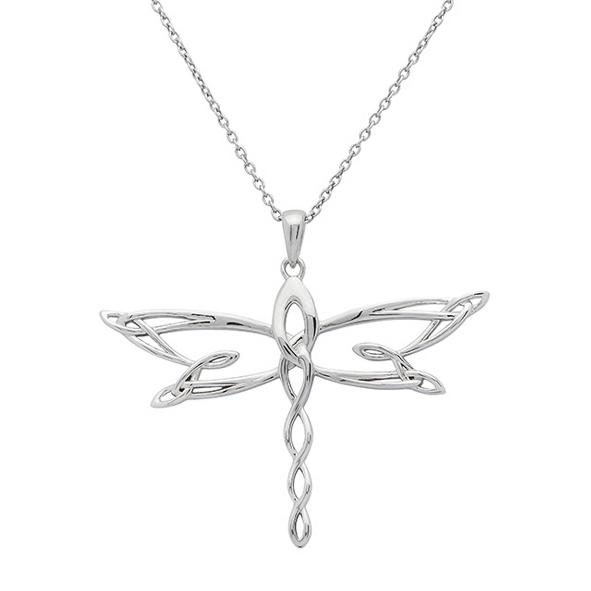 Silver and rose gold two-tone Celtic Dragonfly Pendant   Size:  30mm