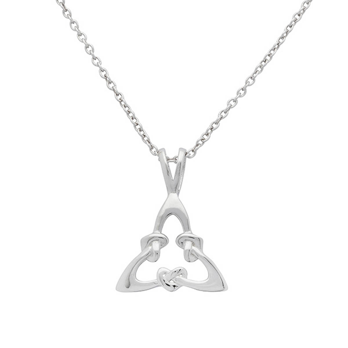 Sterling Silver Triangular Celtic Heart Knot Pendant  Size: 15mm Chain: 18 inche