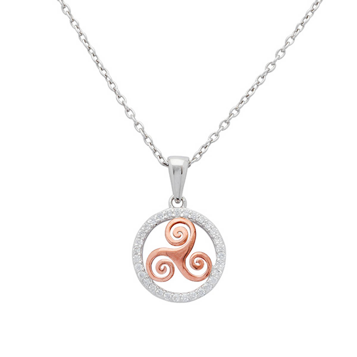 Sterling Silver Circle Pendant with Rose Gold Plated Newgrange Spiral. Circle channel-set with Cubic Zirconia.   Size: 12mm  Chain Length: 18 inches