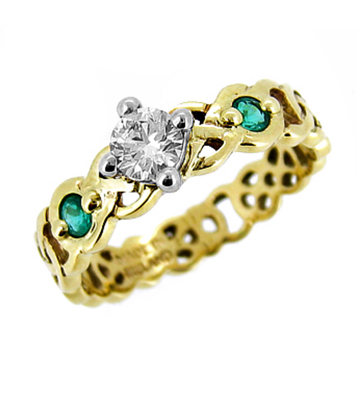 Irish made 14 carat yellow gold 0.30cts diamonds/0.14cts emeralds celtic engagement ring