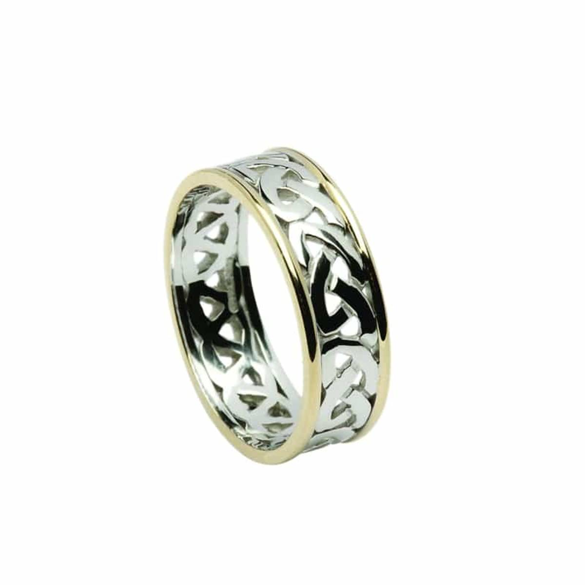 18 ct open knot white gold gents wedding band with yellow gold rims