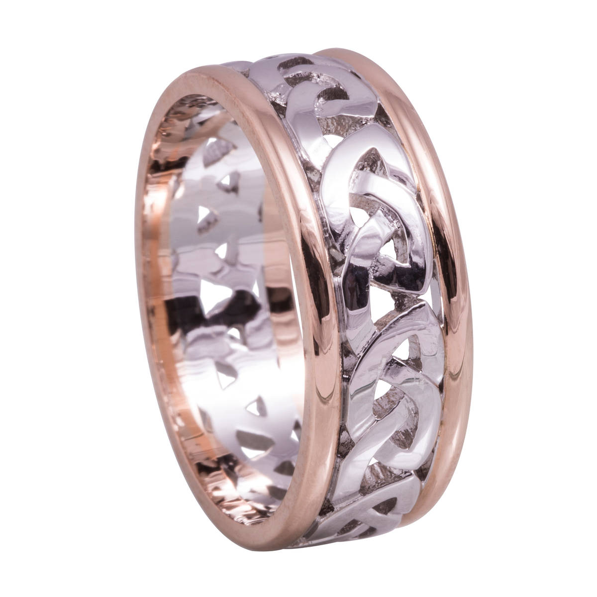 18 carat white gold centred man'sCeltic knot ring with rose gold heavy rims.A very comfortable and detailed ring for every day wear.