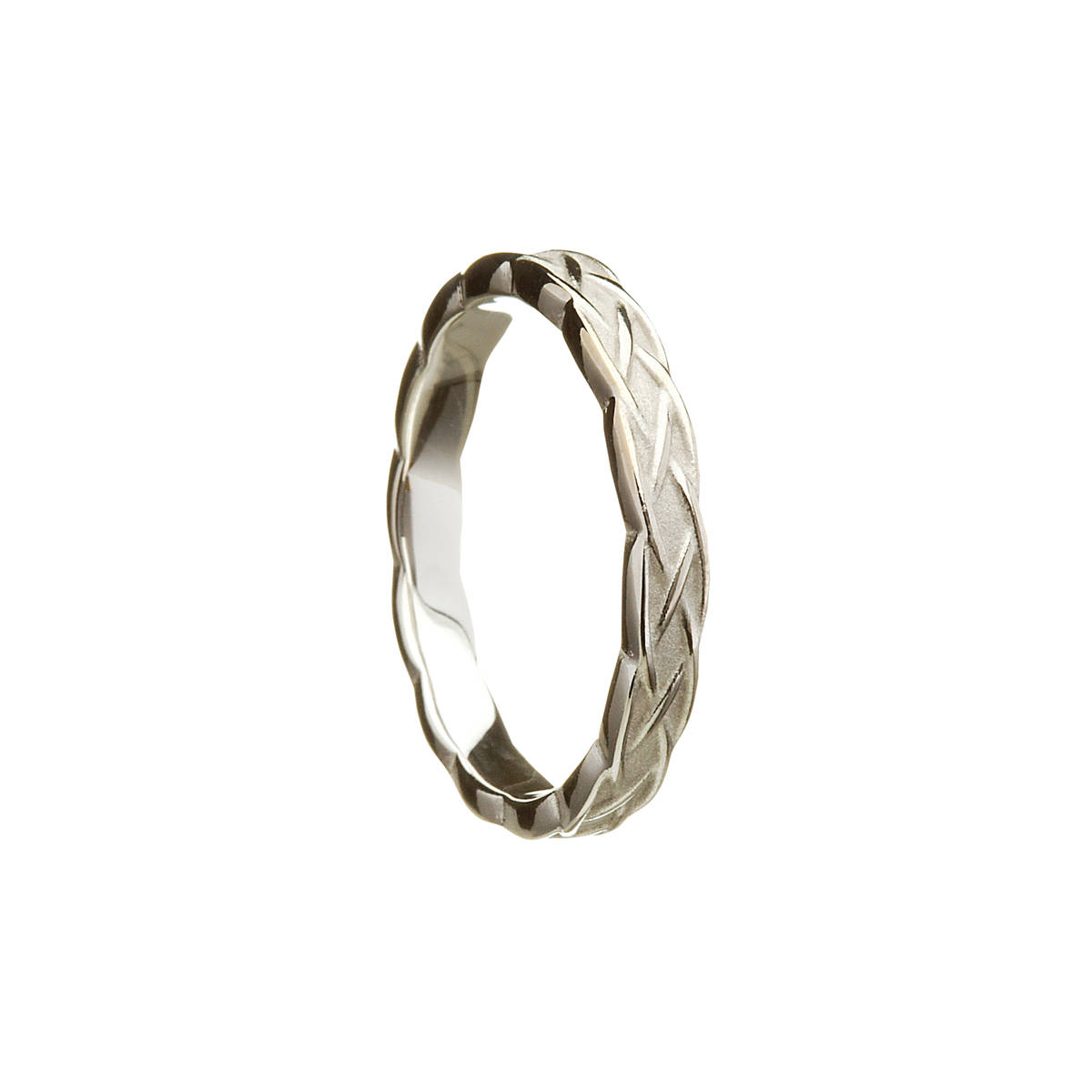 14ct White Gold Celtic Knot Gents Wedding Band.  Width: 3.9 mm