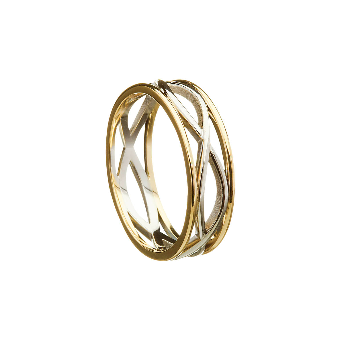 14 carat white gold man'stwo lines entwined open Celtic ringwith light yellow rims.Adelicately intricate ring which looks beautiful.