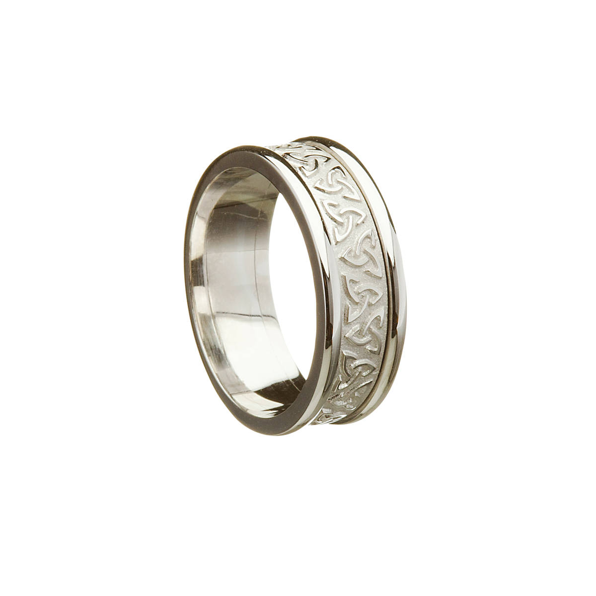 14 carat white gold raised trinity knot wedding band with heavy white rims. 8.1mm