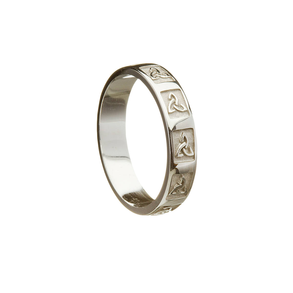 Sterling Silver unisex wedding band with raised window Trinity Knot Design.   Width: 3.7 mm
