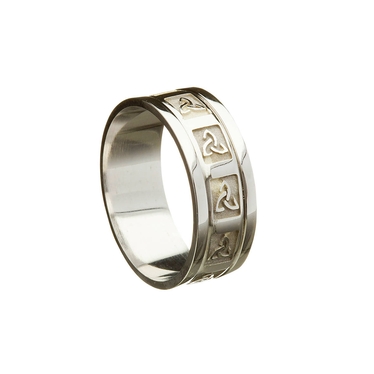 14ct white gold gents heavy wedding band with raised window Trinity Knot Design and heavy flat rims.   Width: 8.5 mm