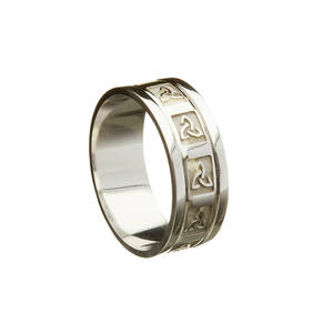 10ct White Gold Gents Celtic Trinity Knot Wedding Band