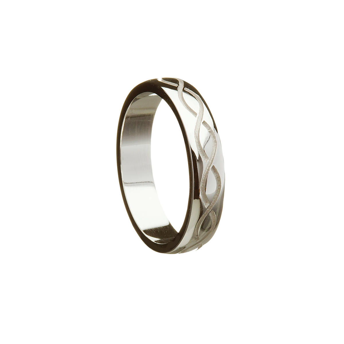14ct White Gold Gents Celtic Weave Wedding Band  with a recessed 2 row Celtic twist design.  Width: 4.9 mm