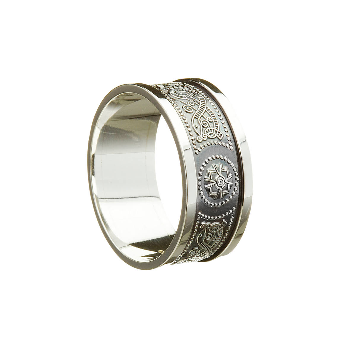 14 carat Gents 8 Mm Wide Light White Gold Arda Wedding Band With Heavy Flat White Gold Rims