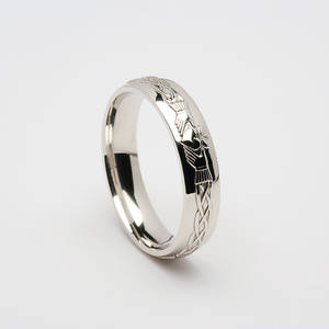 10 carat white gold Claddagh wedding band
