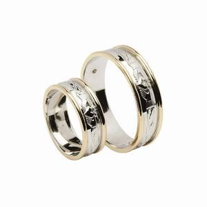 18 carat white gold man's  Claddagh  diamond wedding band