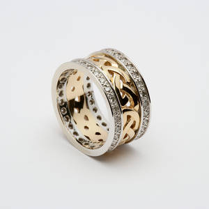 14ct Gold Ladies Celtic Diamond-Set Wedding Band