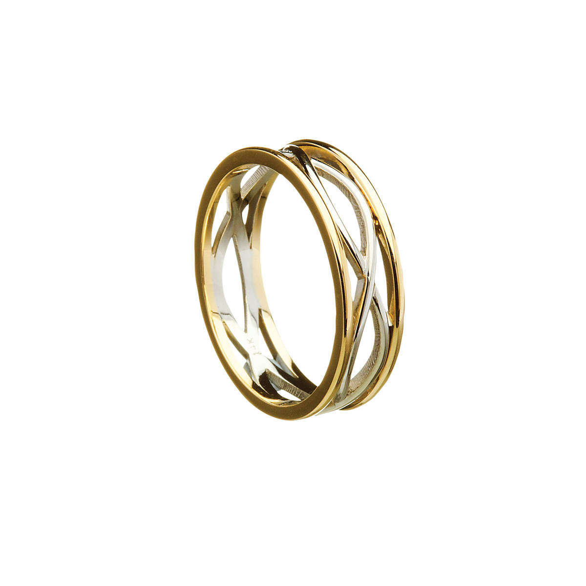 14 carat white gold lady'sCeltic ring withtwo lines entwined with light yellow rims.A great ring that will impress.