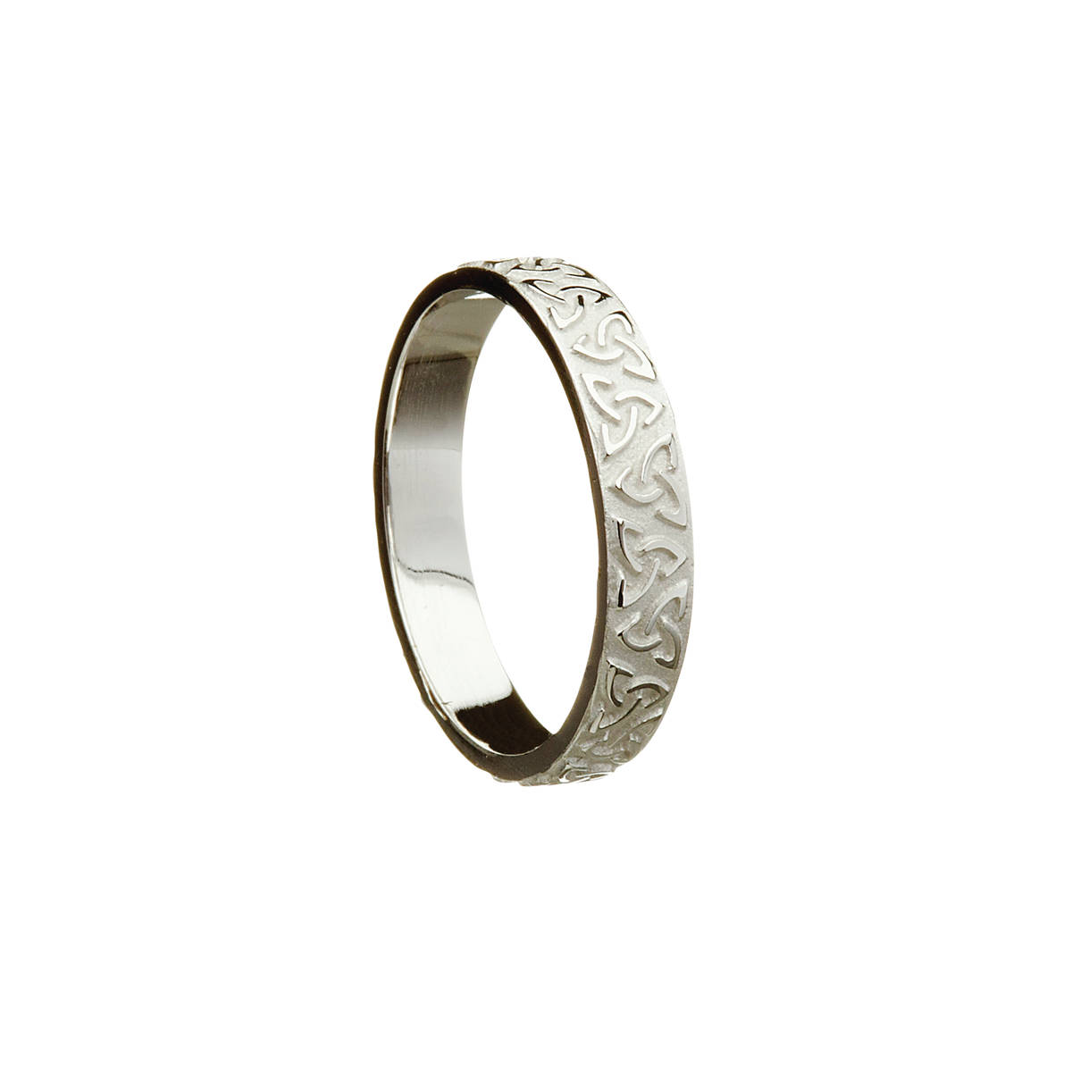 14 carat white gold lady's Celtic raised trinity knot 3.9mm wide approx. ring.Avery practical and distinctive ring.This ring can be ordered in yellow or rose gold by requesting it in the comment box on the checkout page.