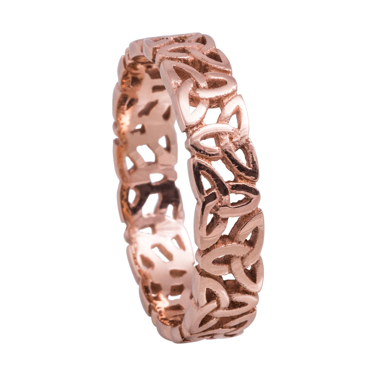 14 carat rose gold lady'slight open trinity knot ring.4.7mm