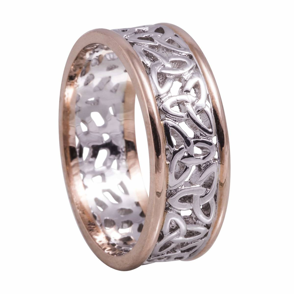 14 ct white gold trinity knot centre band with rose rims. Fabulous wedding ring in the Celtic eternity knot style.