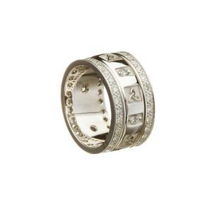 14ct White Gold Trinity Knot Wedding Band with Diamonds