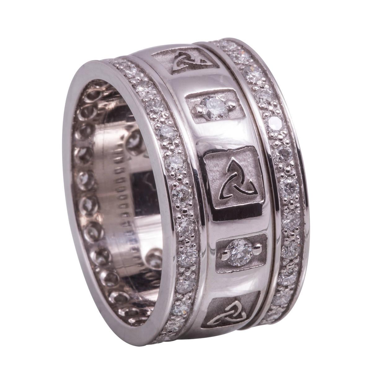 14 carat white gold lady's raised trinity knot wedding ring with 0.75 diamonds