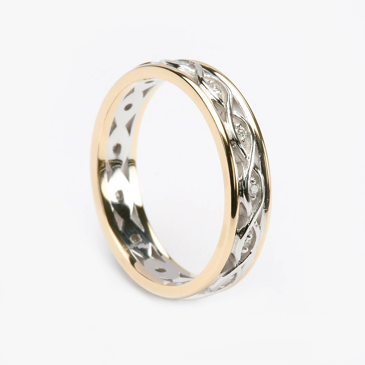 14 carat white gold lady's Celtic style two lines entwined wedding ring with light yellow rims and 0.10 carat diamonds.