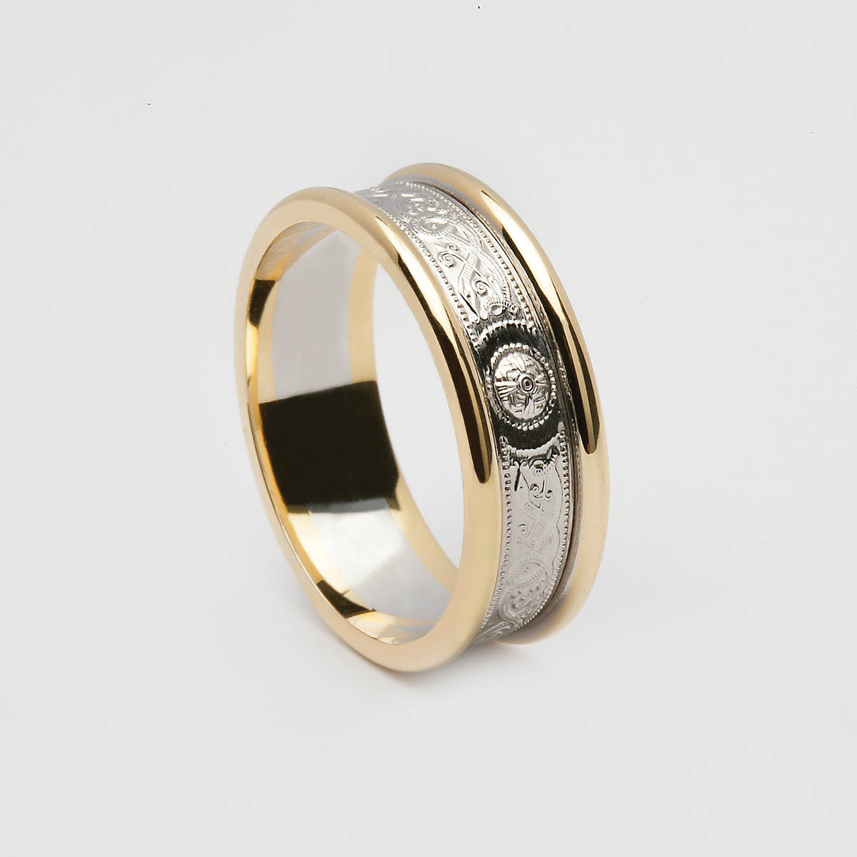 14 carat white gold Arda inspired unisex wedding ring with yellow gold rims.7.2mm