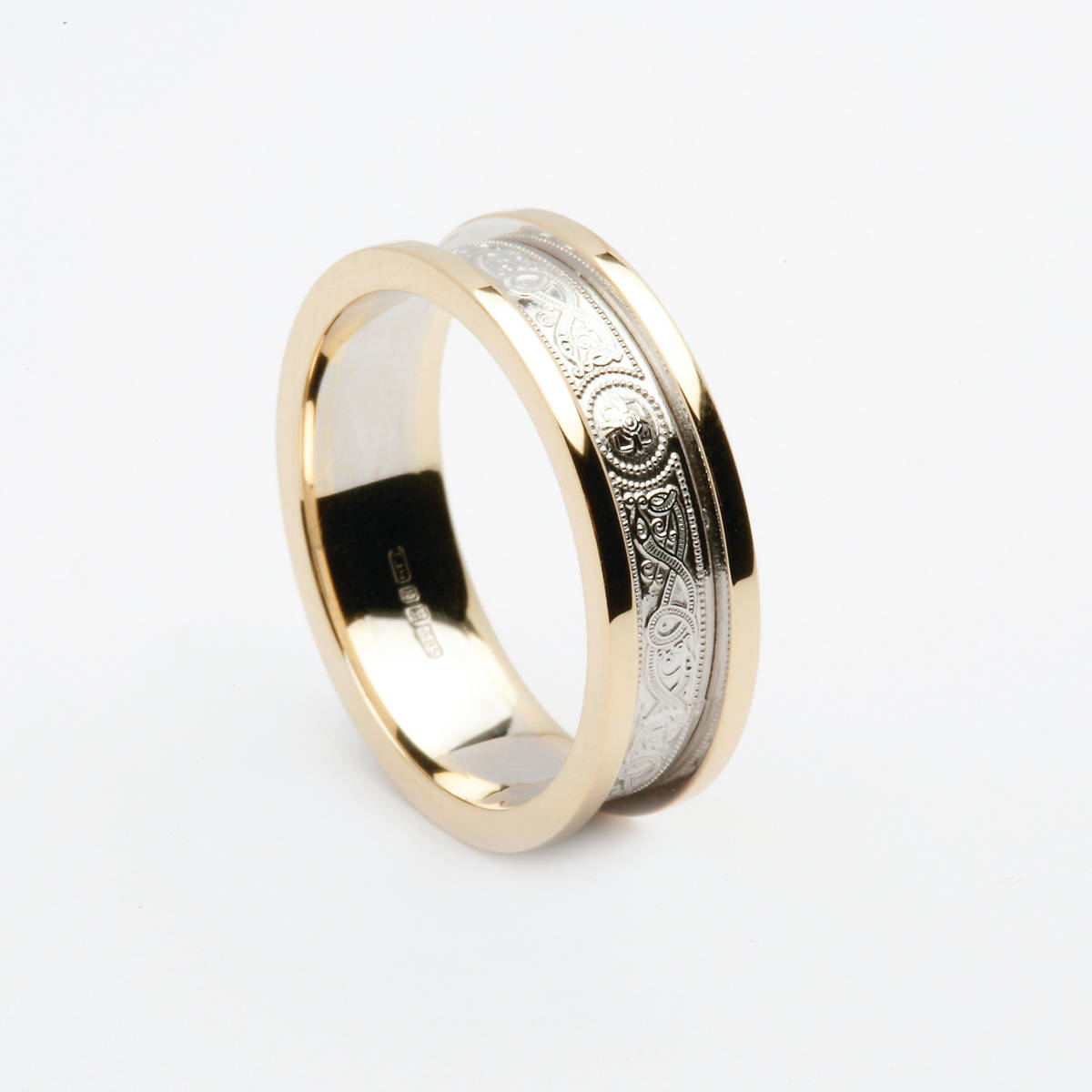 10 carat white gold Arda inspired unisex wedding ring with 10 carat yellow gold heavy rims5.7mm