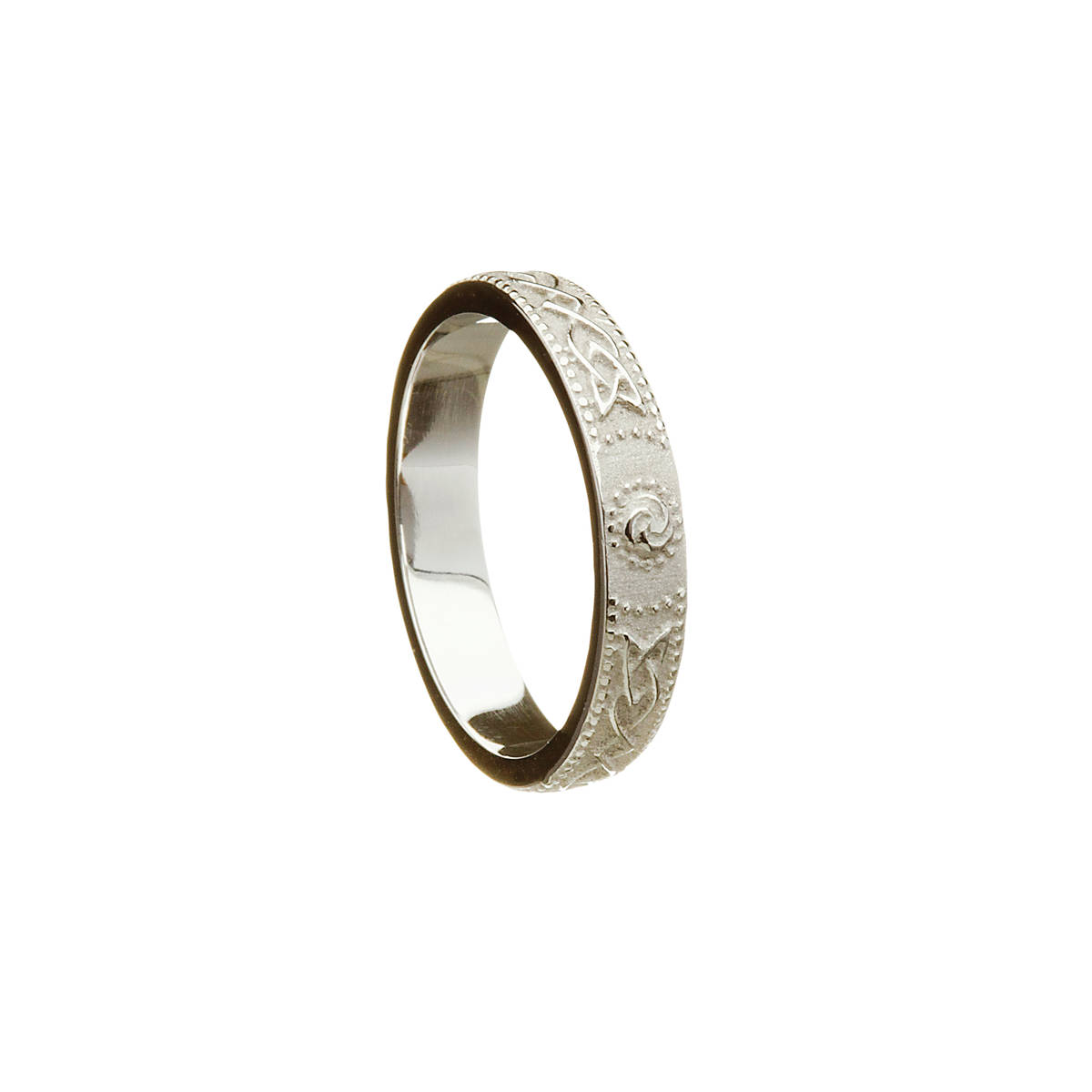 14 carat white gold lady's D/shape Celtic warrior shield 4.1 mm wide approx. band.