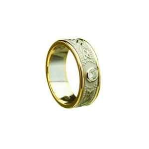 14ct White Gold Diamonds Celtic Wedding Band