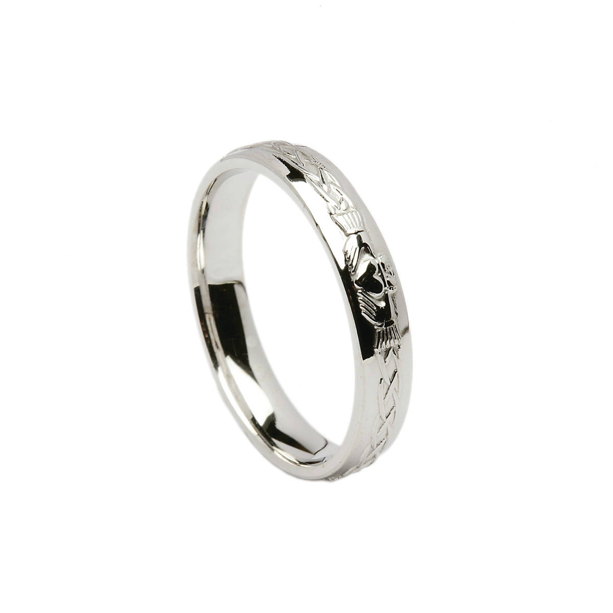 14ct white gold ladies universal fit Celtic Claddagh wedding band  Profile: D-Shape Width: 4.5mm