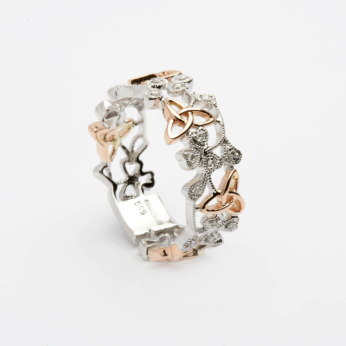 14 ct gold trinity knots ring in white gold and rose gold with 0.13 cts diamonds