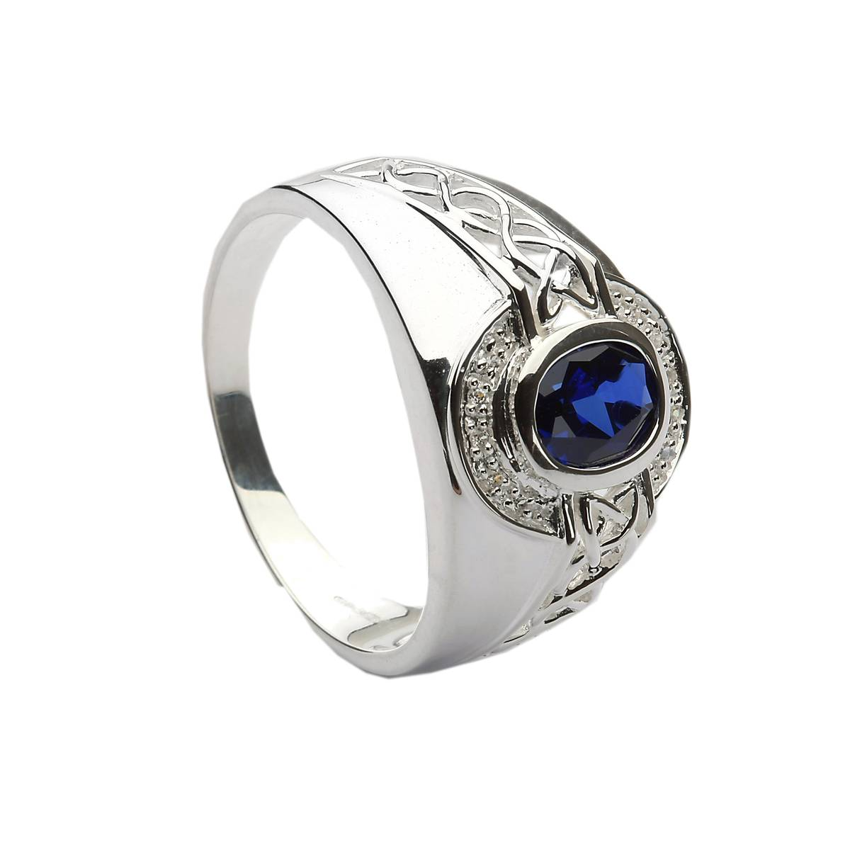 Silver synthetic sapphire/CZ set celtic ring similar to collegiate ring.