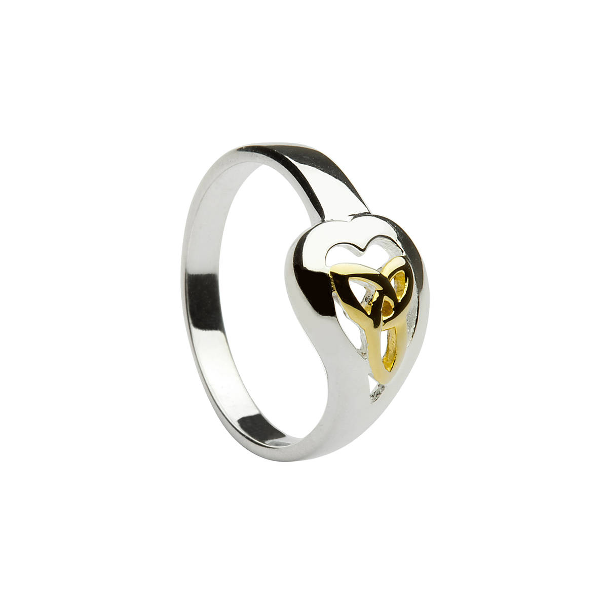 Silver ring with gold plated trinity knot centre.