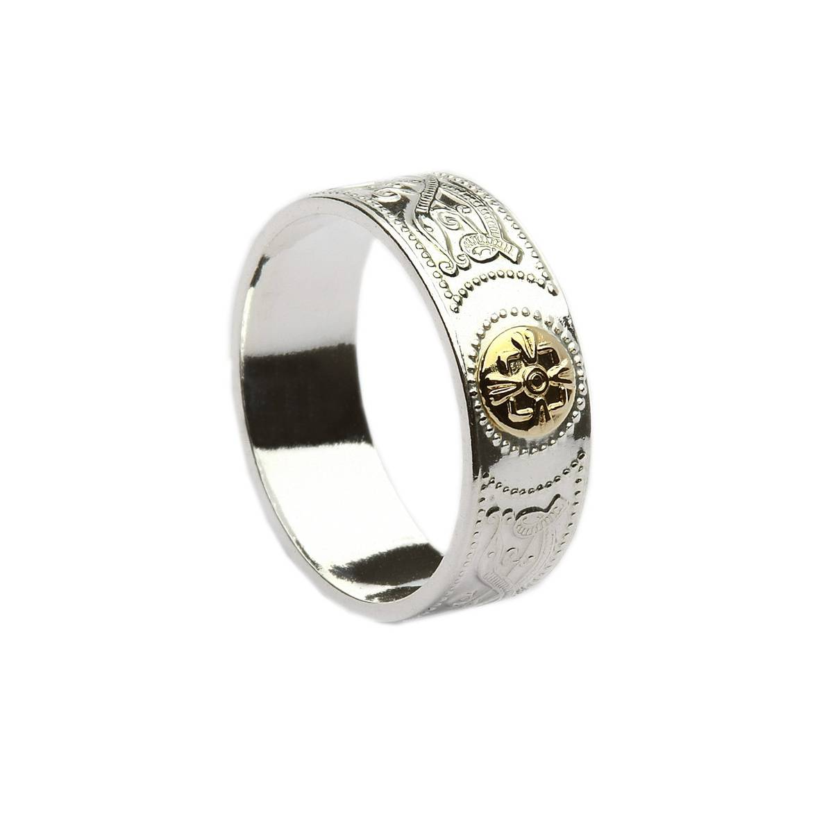 Silver Arda inspired ring with 14 carat yellow gold shield.(0.6cm wide)Great value.