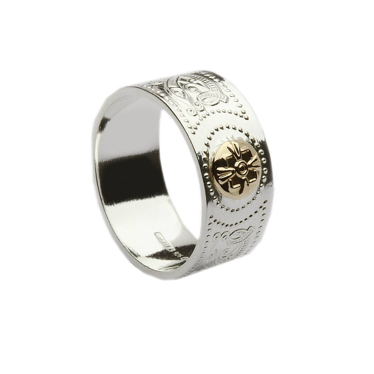 Silver Arda 9.5mm Wide Mans Celtic Shield Band With 14ct Gold Boss  Based on the Arda chalice and sure to be admired.Silver Arda Chalice Celtic ring with 14 carat shield.(0.9cm wide)