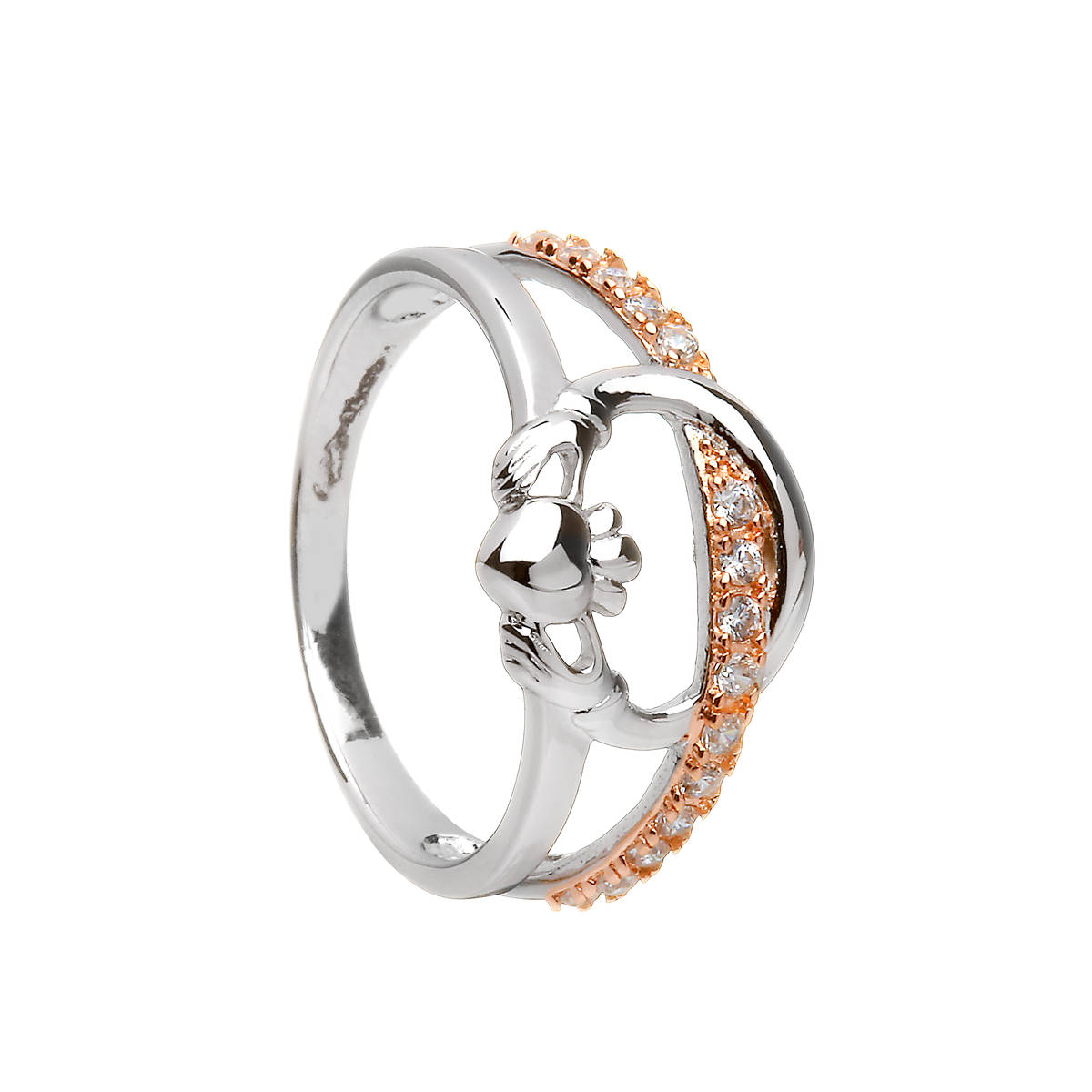 Silver Claddagh Ring With Cz Set In Rose Gold Plating