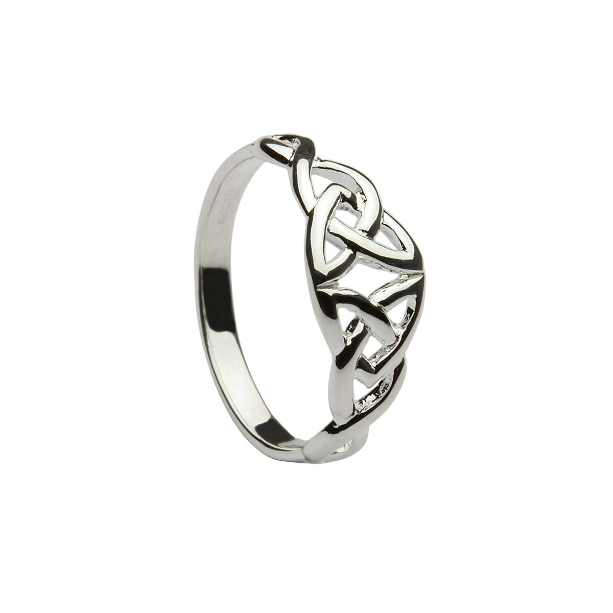 Silver classic mirrored celtic knot ring