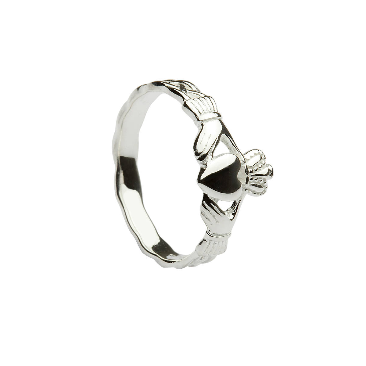 Silver traditional maiden's claddagh ring