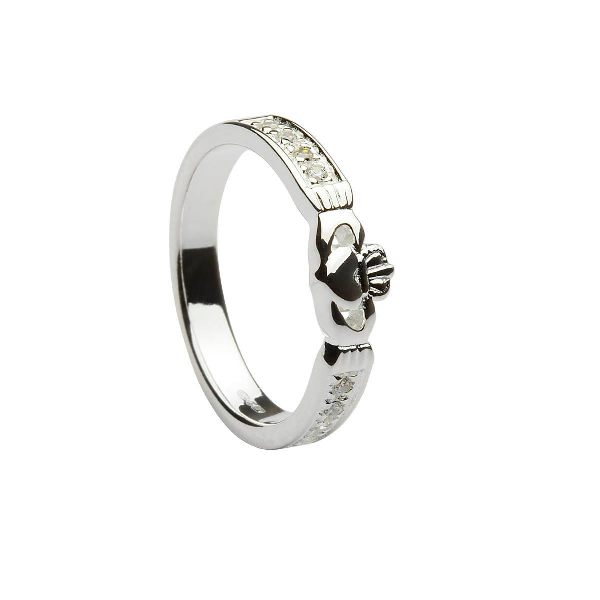 Silver CZ set Claddagh ring.Most unusual style.