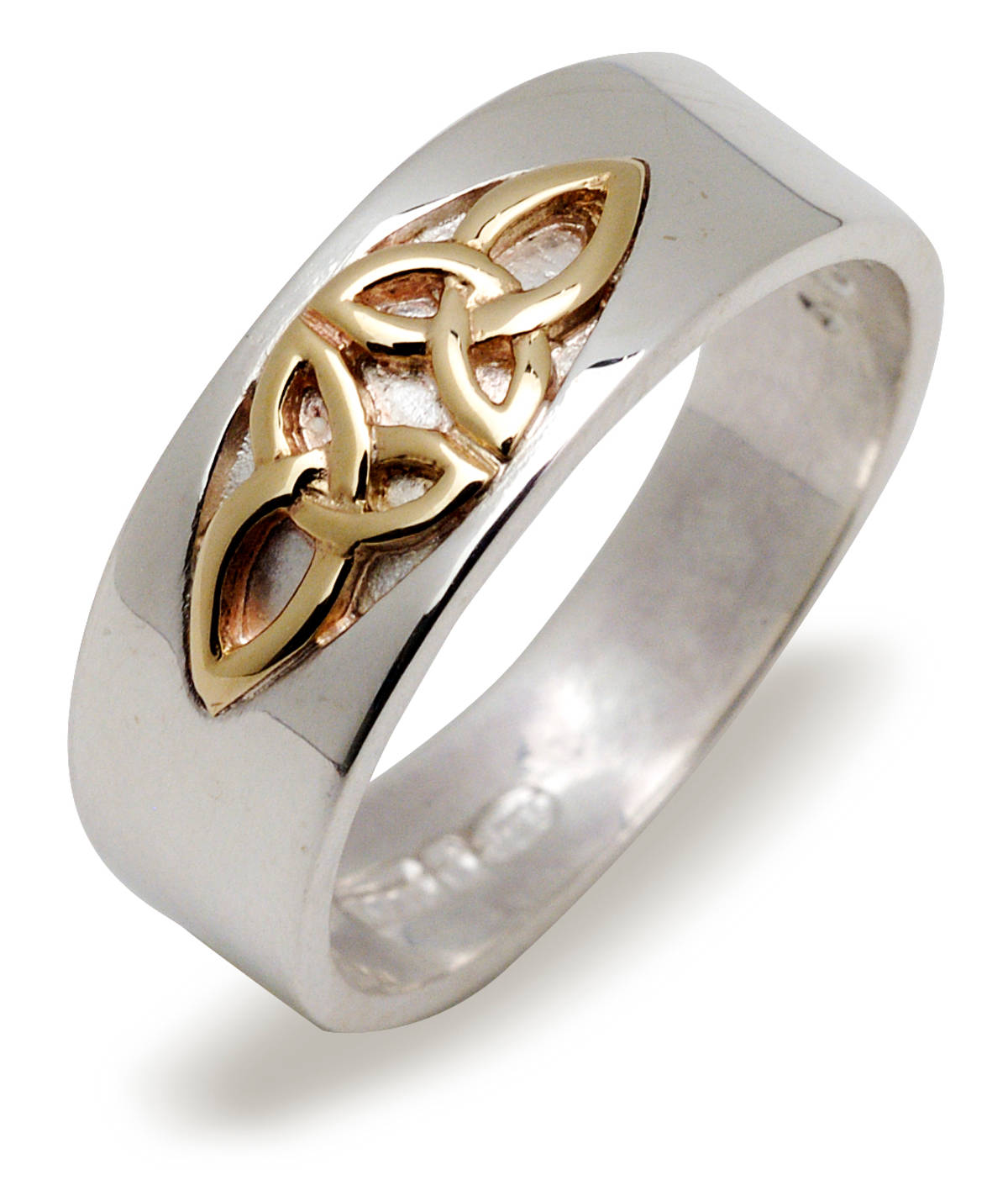 Silver band with 10 carat yellow gold trinity knot detail in window