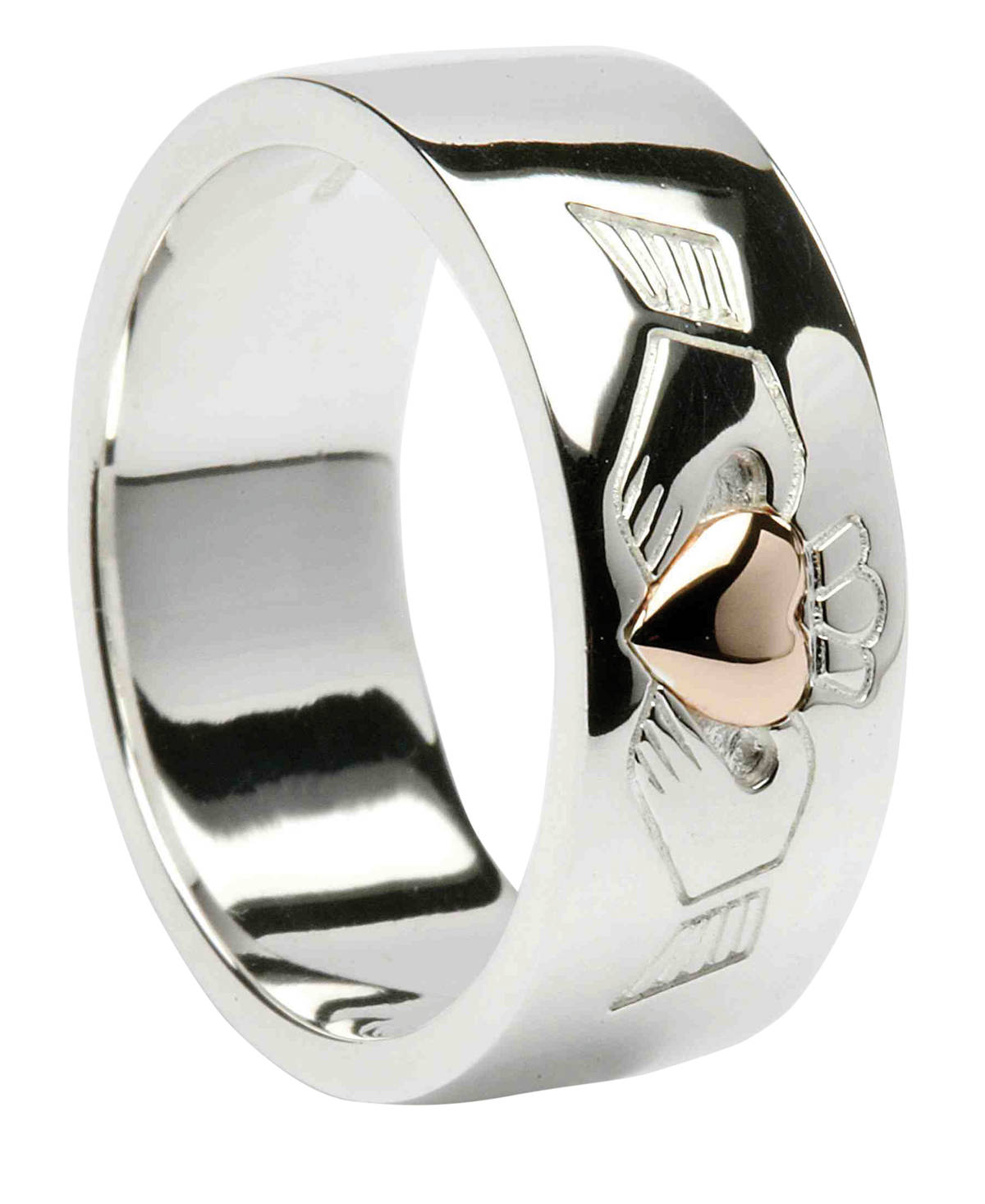Silver Chunky Clad Band With 10ct Rose Heart Of Gold (Polished Finish)