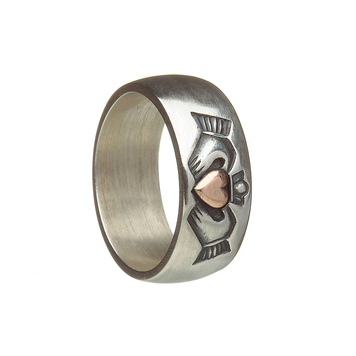 Antique brushed finish silver Claddagh ring with 10 carat rose gold heart.