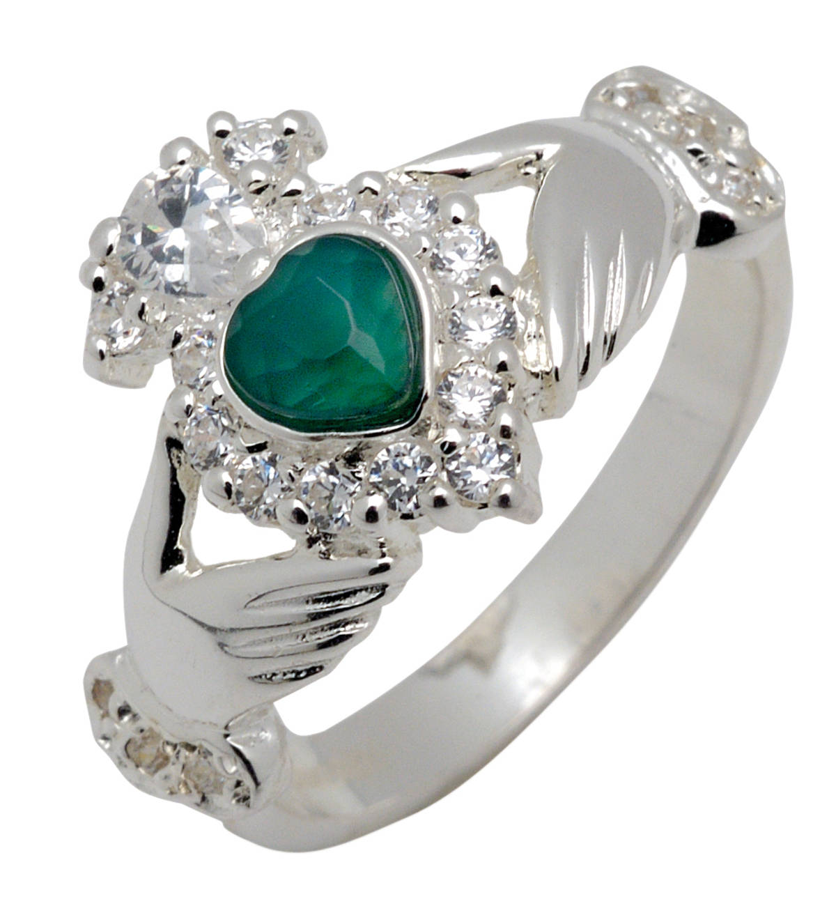 Silver claddagh ring with green heart shaped agate and cubic zirconias setting.