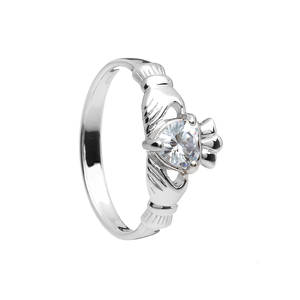 April Birthstone Silver Claddagh Ring
